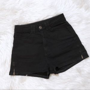 American Apparel Black High Waisted Shorts Size 23